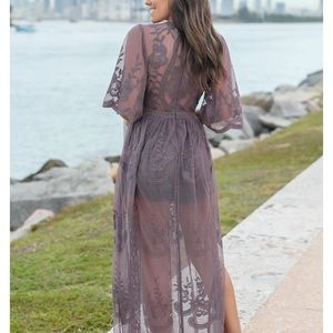 Wishlist embroidered lace maxi romper dress